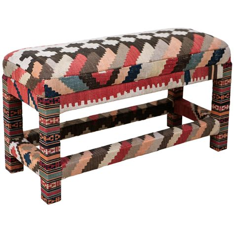 kilim upholstered bench at 1stdibs