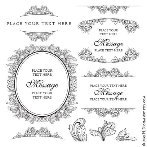 Wedding Border Vector Png by Vector Frames Foliage Border Floral Frame Shabby Chic