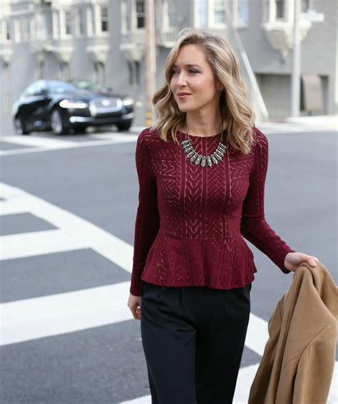 burgundy lace peplum top memorandum nyc fashion