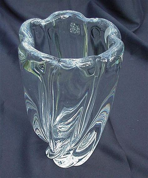 Orrefors Vases Vintage by Orrefors Clear Glass Vase Flared Scalloped Heavy
