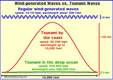 From tsunami waves tsunami waves are much faster than wind generated