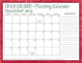 Download the free printable calendar here elf planning calendar 2013