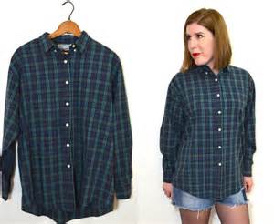 blue and green plaid shirt womens button up by