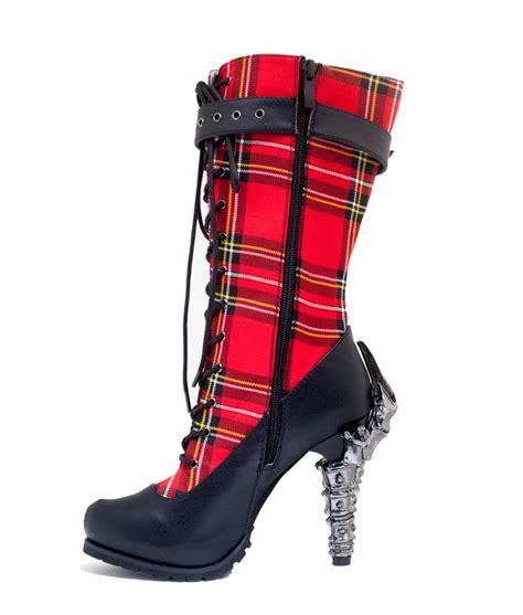 5 quot custom print plaid knee high boots corinne