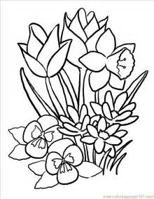 Butterfly Coloring Pages Panda 1077288 Spring Flowers With  sketch template
