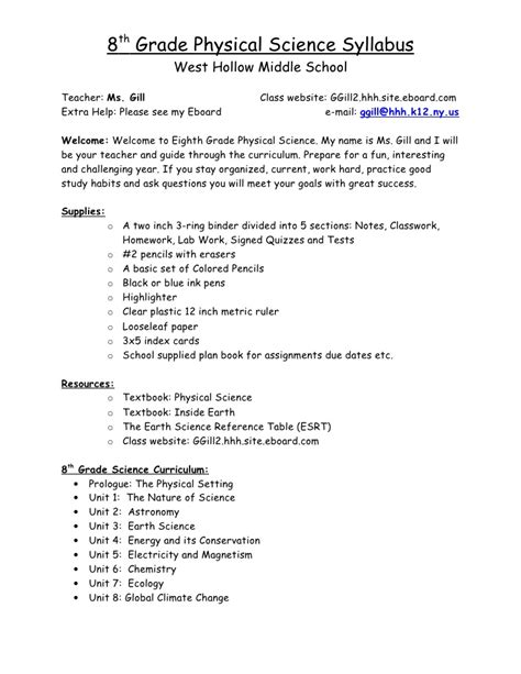 8th Grade Physical Science Worksheets by Syllabus 8th Grade Science