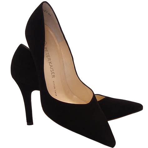 High Hells Suede kaiser dione classic high heel court shoe black