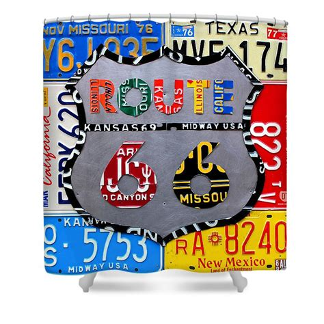 route 66 shower curtain route 66 highway road sign license plate art shower