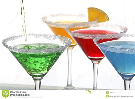 four colored cocktails stock image image 3175771
