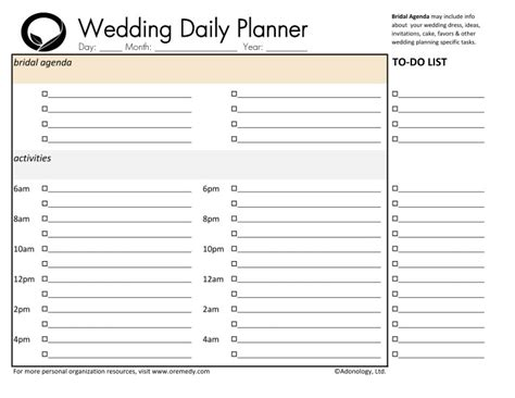 Wedding Day Planner by Resources Oremedy Get Organized Be Successful