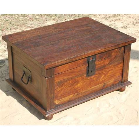 rustic primitive solid wood storage box trunk coffee table