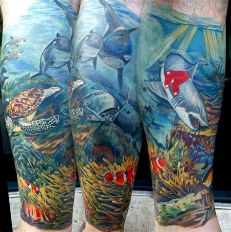 underwater tattoo sleeve shark images designs