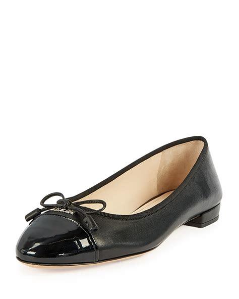 prada flat shoes prada patent cap toe ballerina flat in black lyst