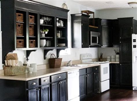 rustic black cabinet painting ideas with white appliances and wicker baskets for country