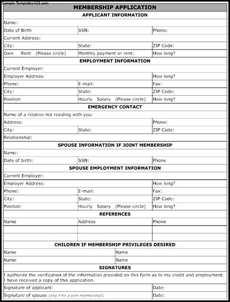membership application form template sle templates
