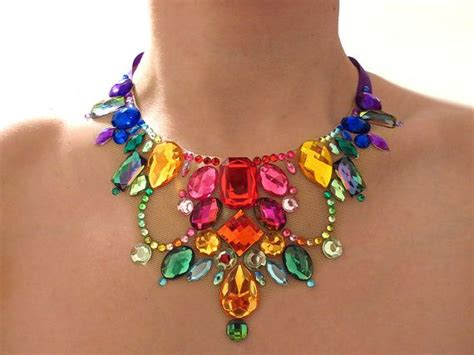 colorful statement necklace rainbow illusion necklace rainbow rhinestone statement
