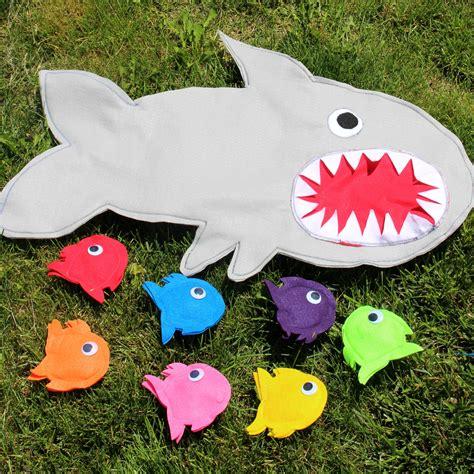 shark bean bag toss shark chum traveling bean bag toss family crafts