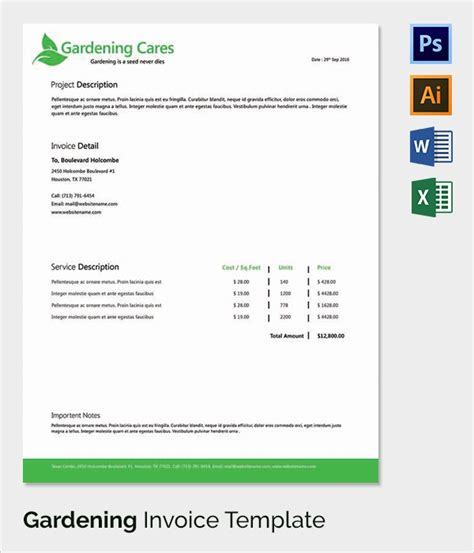 Gardening Invoice Template 38 Invoice Templates Free Sle Exle Format
