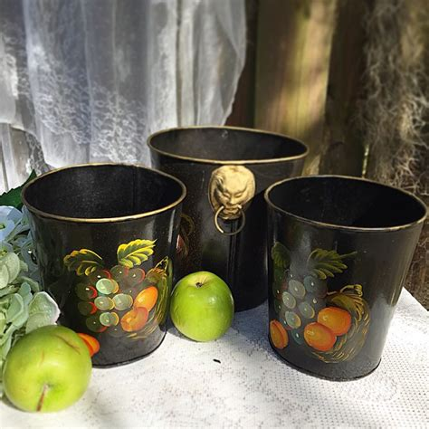 Trash Can Planter by Tin Tole Fruit Set 3 Planter Trash Can Grapes
