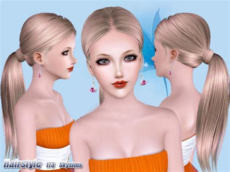 sims 3 high ponytail high wrapped ponytail hairstle 173 by skysims sims 3 hairs