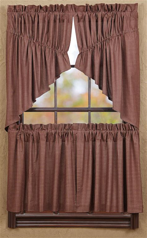 24 inch cafe curtains bancroft burgundy check 24 inch cafe curtains the weed patch