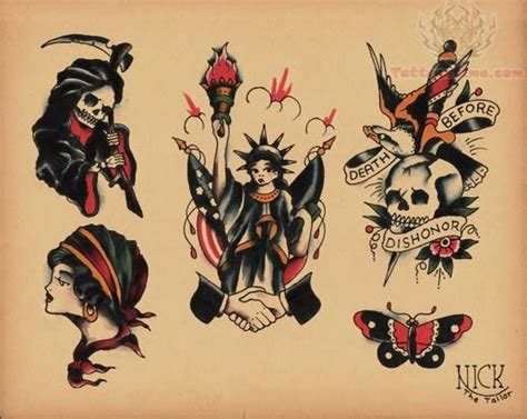 old school tattoo designs gallery school skulls design