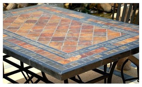 Tile Patio Tables Garden Patio Mosaic Slate Table 78 Quot Maple Craftsman Los Angeles By Living Roc Usa