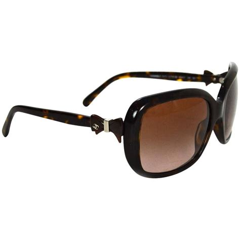 3 In 1 Chanel Brown chanel brown tortoise sunglasses with bow detail for sale