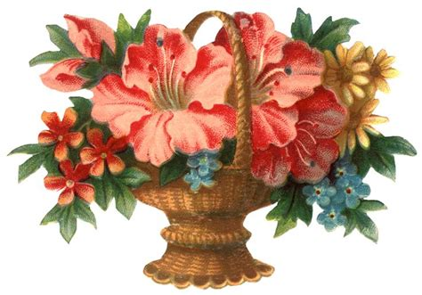 printable victorian flowers vintage christmas graphics victorian flower basket clip