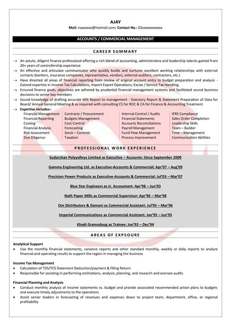 Resume Format For Accountant by Senior Accountant Sle Resumes Resume Format