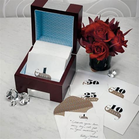 Wedding Note Box by Wooden Memory Note Box With Anniversary Stationery