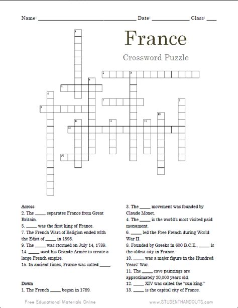 easy crossword puzzles in french france crossword puzzle student handouts