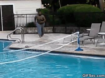 Pool Boy Meme - fat guy pool fail gif