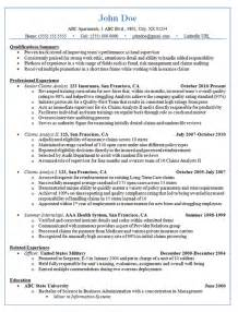 Fraud Analyst Sle Resume by Claims Analyst Resume Exle Insurance And Finance