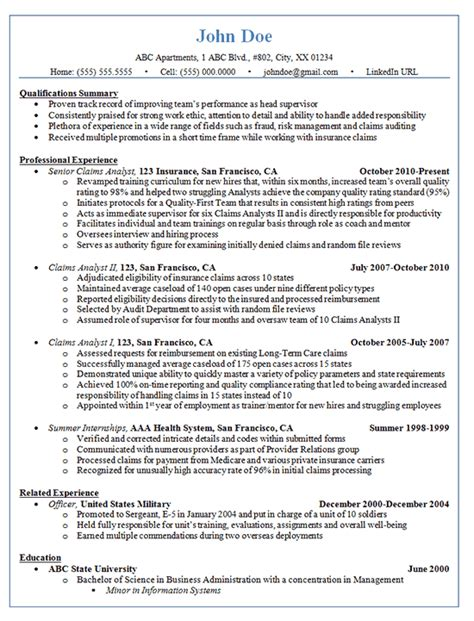 Claims Analyst Sle Resume by Claims Analyst Resume Exle Insurance And Finance