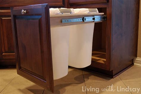 kitchen recycling bins for cabinets ask wet forget clever can camo 5 creative ways to hide