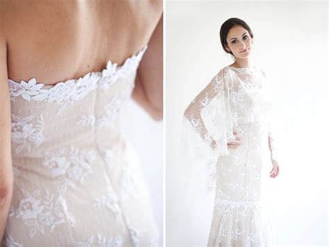 Handmade Wedding Dresses - beige with white lace handmade wedding dress onewed