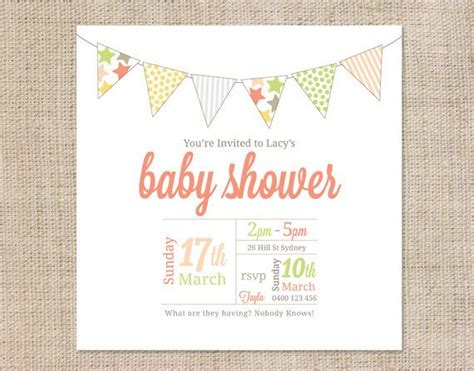 printable baby shower invitation template bunting