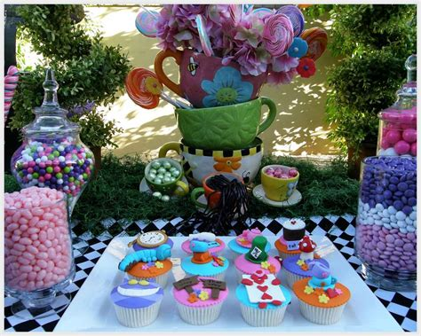 Mickey Mouse Table And Chair Set Alice In Wonderland Mad Tea Party Candy Buffet Birthday