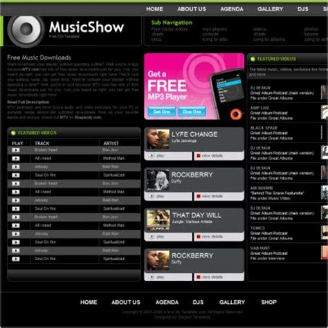음악 쇼 템플릿 그린 무료 웹사이트 템플릿 무료 다운로드
