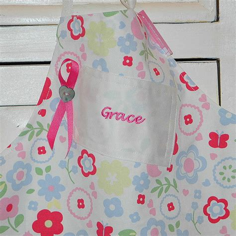 personalised childrens embroidered apron by the alphabet