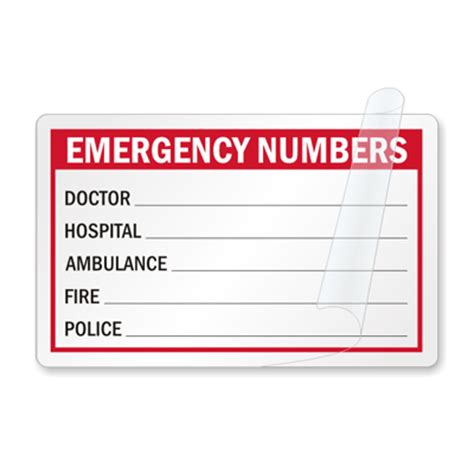 Emergency Numbers Card Template by Safety Wallet Sized Cards Mysafetysign
