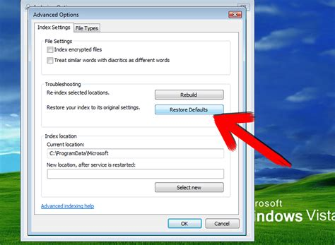 windows vista resetting echo request failed how to rebuild windows vista search index 7 steps with