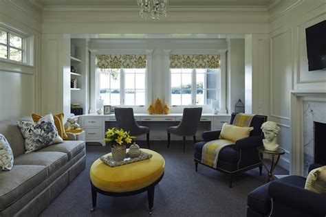 What Color Curtains Go With Yellow Walls by Yellow And Gray Family Room Transitional Living Room