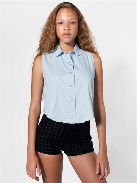 Pleast Peterpan Cropped Shirt denim sleeveless crop button up crop tops s collared shirts american apparel my