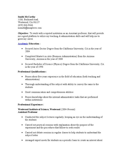 Assistant Professor Resume Assistant Professor Resume Academic Degree Professor
