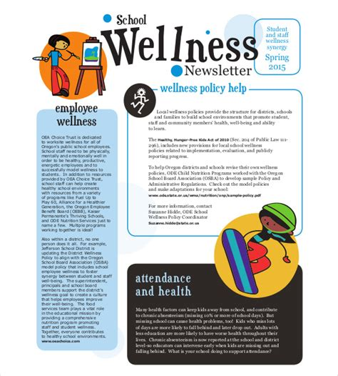health and wellness newsletter template 7 school newsletter templates free sle exle