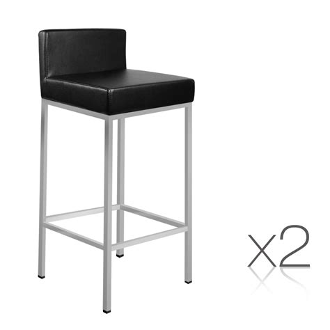Leather Stools Kitchen by Set Of 2 Pu Leather Kitchen Bar Stool Black