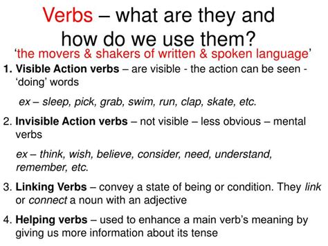 ppt verbs what are they and how do we use them powerpoint presentation id 6845344