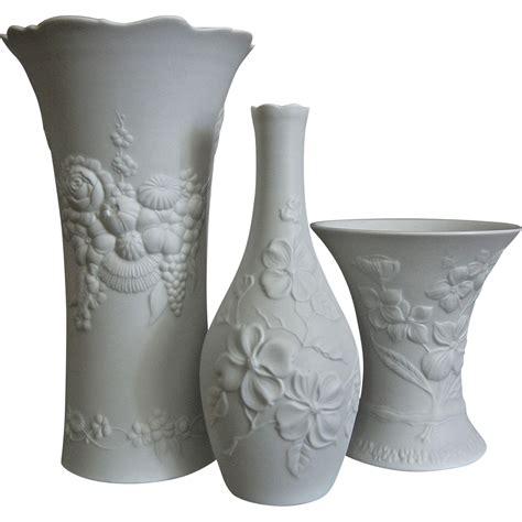 Kaiser Vase by Kaiser Porcelain Matte White Vase Trio 2 Circa 1970 From